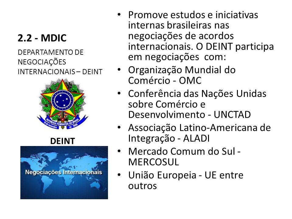 2.2 - MDIC Promove estudos e iniciativas internas brasileiras nas negociações de acordos internacionais.