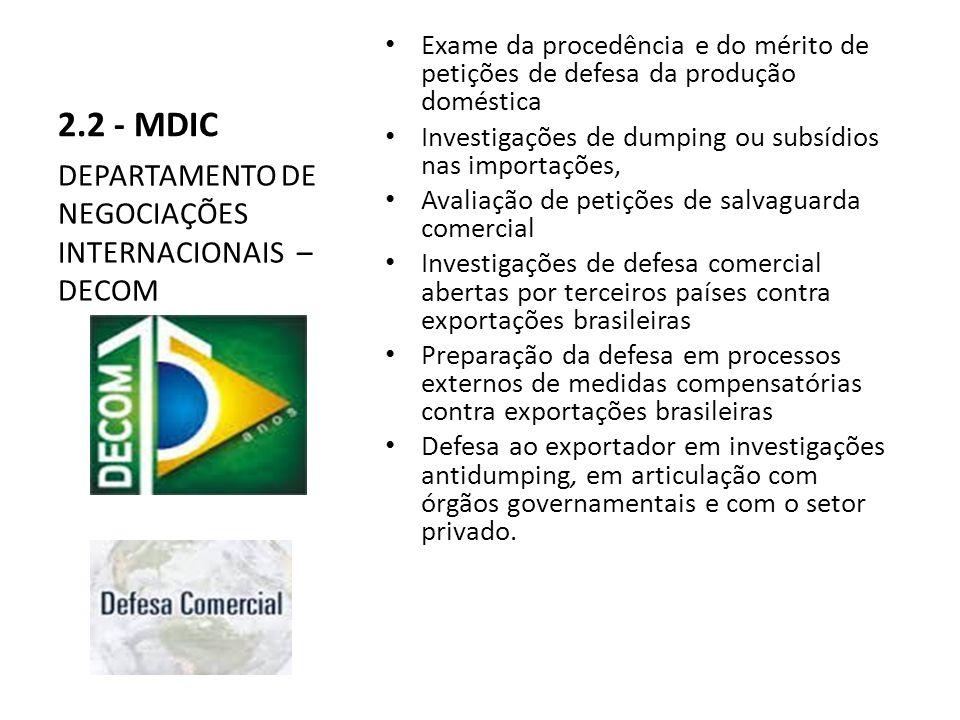 2.2 - MDIC Exame da procedência e do mérito de petições de defesa da produção doméstica Investigações de dumping ou subsídios nas importações, Avaliação de petições de salvaguarda comercial Investigações de defesa comercial abertas por terceiros países contra exportações brasileiras Preparação da defesa em processos externos de medidas compensatórias contra exportações brasileiras Defesa ao exportador em investigações antidumping, em articulação com órgãos governamentais e com o setor privado.