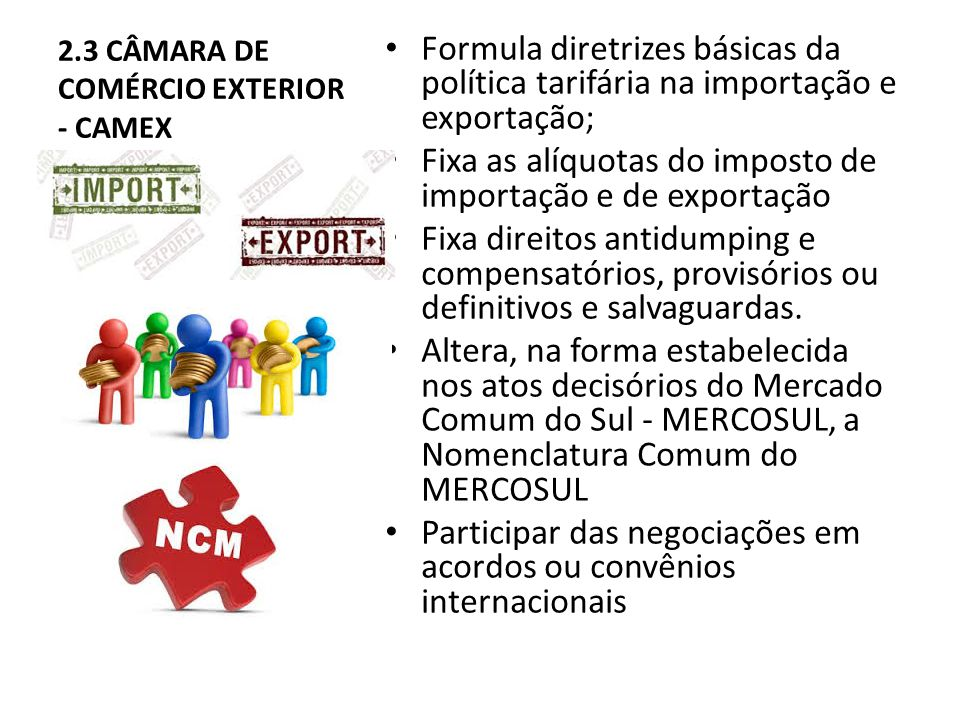 2.3 CÂMARA DE COMÉRCIO EXTERIOR - CAMEX Formula diretrizes básicas da política tarifária na importação e exportação; Fixa as alíquotas do imposto de importação e de exportação Fixa direitos antidumping e compensatórios, provisórios ou definitivos e salvaguardas.