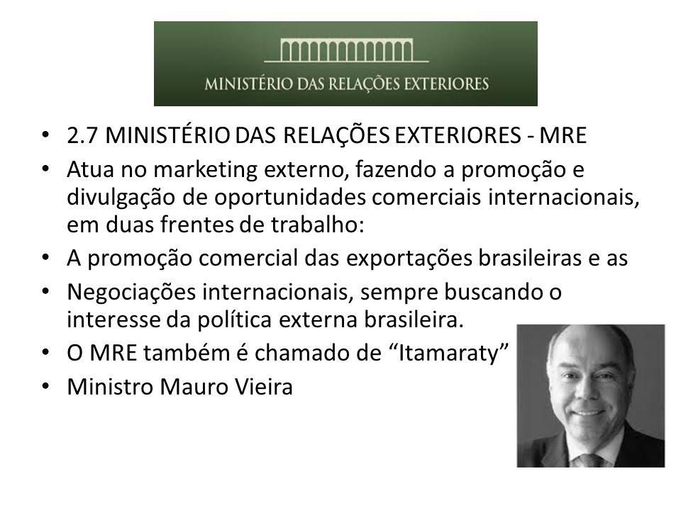 2.7 MINISTÉRIO DAS RELAÇÕES EXTERIORES - MRE Atua no marketing externo, fazendo a promoção e divulgação de oportunidades comerciais internacionais, em duas frentes de trabalho: A promoção comercial das exportações brasileiras e as Negociações internacionais, sempre buscando o interesse da política externa brasileira.