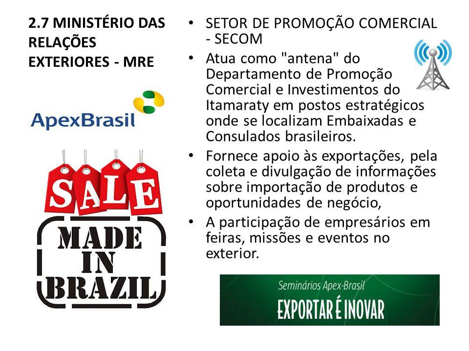 2.7 MINISTÉRIO DAS RELAÇÕES EXTERIORES - MRE SETOR DE PROMOÇÃO COMERCIAL - SECOM Atua como antena do Departamento de Promoção Comercial e Investimentos do Itamaraty em postos estratégicos onde se localizam Embaixadas e Consulados brasileiros.