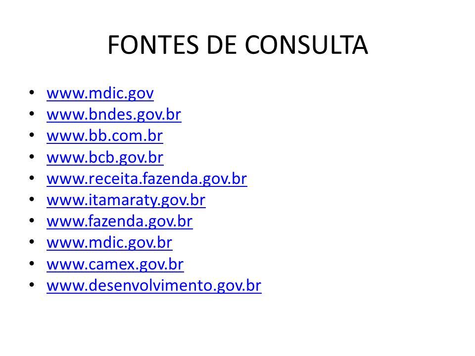 FONTES DE CONSULTA www.mdic.gov www.bndes.gov.br www.bb.com.br www.bcb.gov.br www.receita.fazenda.gov.br www.itamaraty.gov.br www.fazenda.gov.br www.mdic.gov.br www.camex.gov.br www.desenvolvimento.gov.br