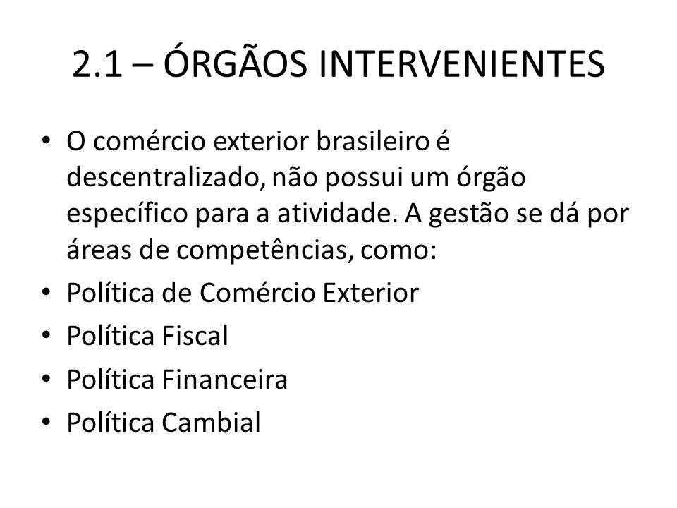 2.1 – ÓRGÃOS INTERVENIENTES O comércio exterior brasileiro é descentralizado, não possui um órgão específico para a atividade.