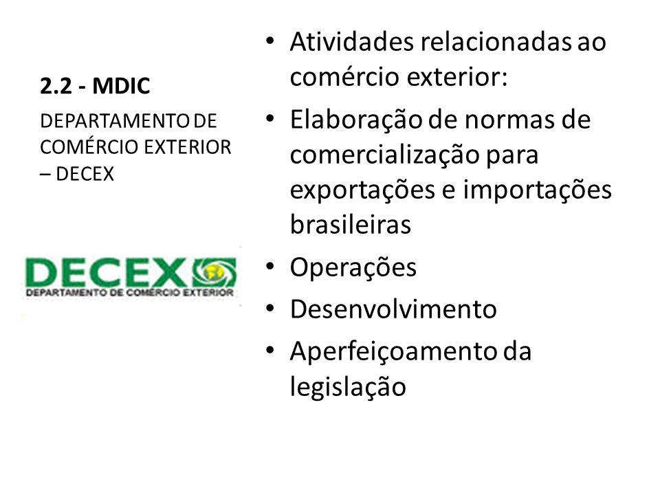 2.2 - MDIC Atividades relacionadas ao comércio exterior: Elaboração de normas de comercialização para exportações e importações brasileiras Operações Desenvolvimento Aperfeiçoamento da legislação DEPARTAMENTO DE COMÉRCIO EXTERIOR – DECEX