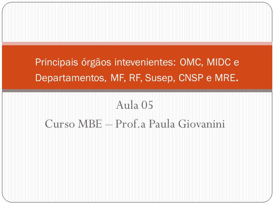 Aula 05 Curso MBE – Prof.a Paula Giovanini Principais órgãos intevenientes: OMC, MIDC e Departamentos, MF, RF, Susep, CNSP e MRE.