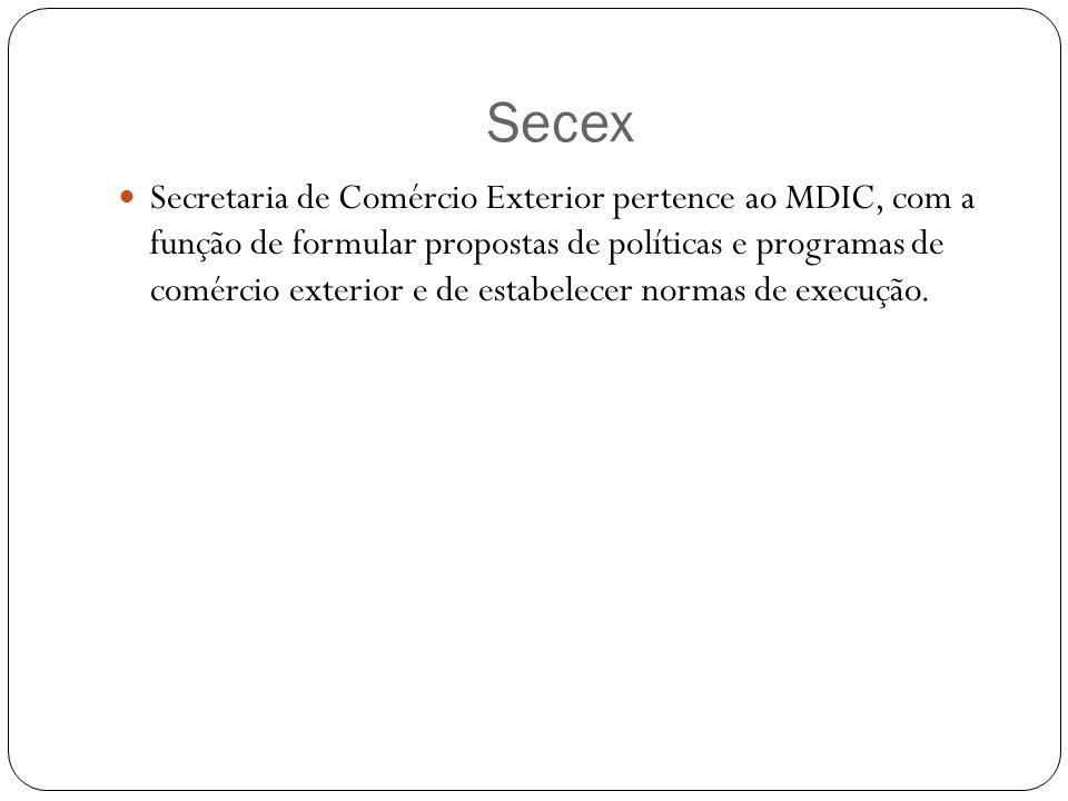 Secex Secretaria de Comércio Exterior pertence ao MDIC, com a função de formular propostas de políticas e programas de comércio exterior e de estabelecer normas de execução.