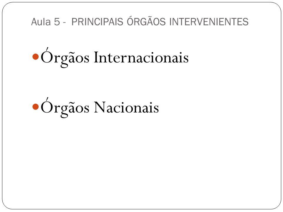 Aula 5 - PRINCIPAIS ÓRGÃOS INTERVENIENTES Órgãos Internacionais Órgãos Nacionais