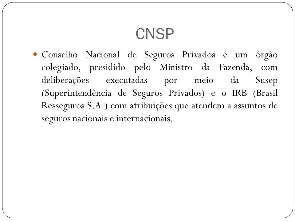 CNSP Conselho Nacional de Seguros Privados é um órgão colegiado, presidido pelo Ministro da Fazenda, com deliberações executadas por meio da Susep (Superintendência de Seguros Privados) e o IRB (Brasil Resseguros S.A.) com atribuições que atendem a assuntos de seguros nacionais e internacionais.