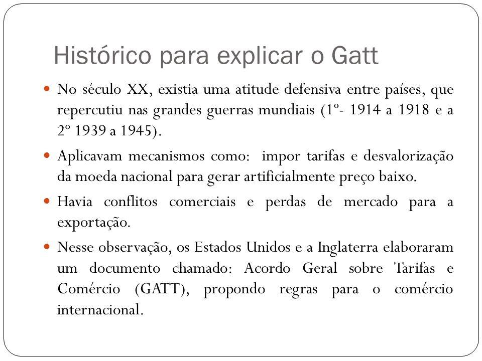 Histórico para explicar o Gatt No século XX, existia uma atitude defensiva entre países, que repercutiu nas grandes guerras mundiais (1º- 1914 a 1918 e a 2º 1939 a 1945).
