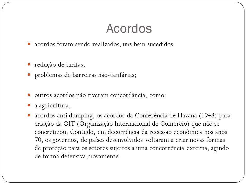 Acordos acordos foram sendo realizados, uns bem sucedidos: redução de tarifas, problemas de barreiras não-tarifárias; outros acordos não tiveram concordância, como: a agricultura, acordos anti dumping, os acordos da Conferência de Havana (1948) para criação da OIT (Organização Internacional de Comércio) que não se concretizou.