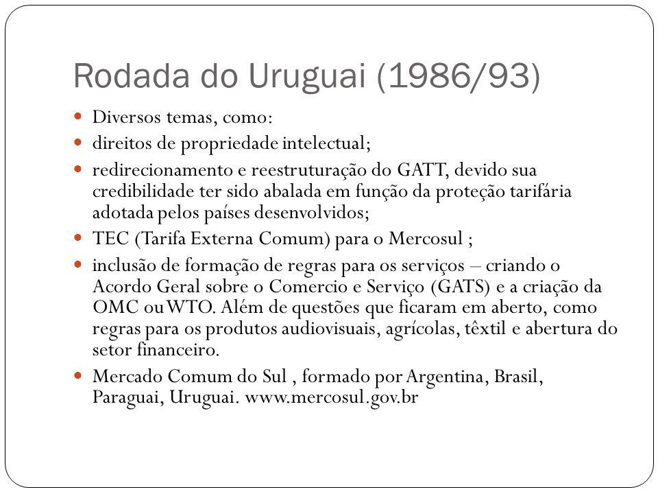 Rodada do Uruguai (1986/93) Diversos temas, como: direitos de propriedade intelectual; redirecionamento e reestruturação do GATT, devido sua credibilidade ter sido abalada em função da proteção tarifária adotada pelos países desenvolvidos; TEC (Tarifa Externa Comum) para o Mercosul ; inclusão de formação de regras para os serviços – criando o Acordo Geral sobre o Comercio e Serviço (GATS) e a criação da OMC ou WTO.