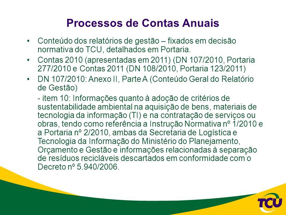 Conteúdo dos relatórios de gestão – fixados em decisão normativa do TCU, detalhados em Portaria.