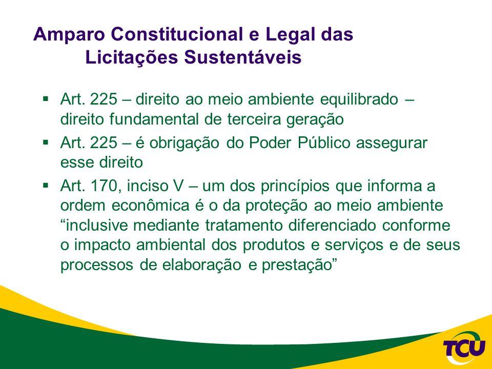 Amparo Constitucional e Legal das Licitações Sustentáveis  Art.