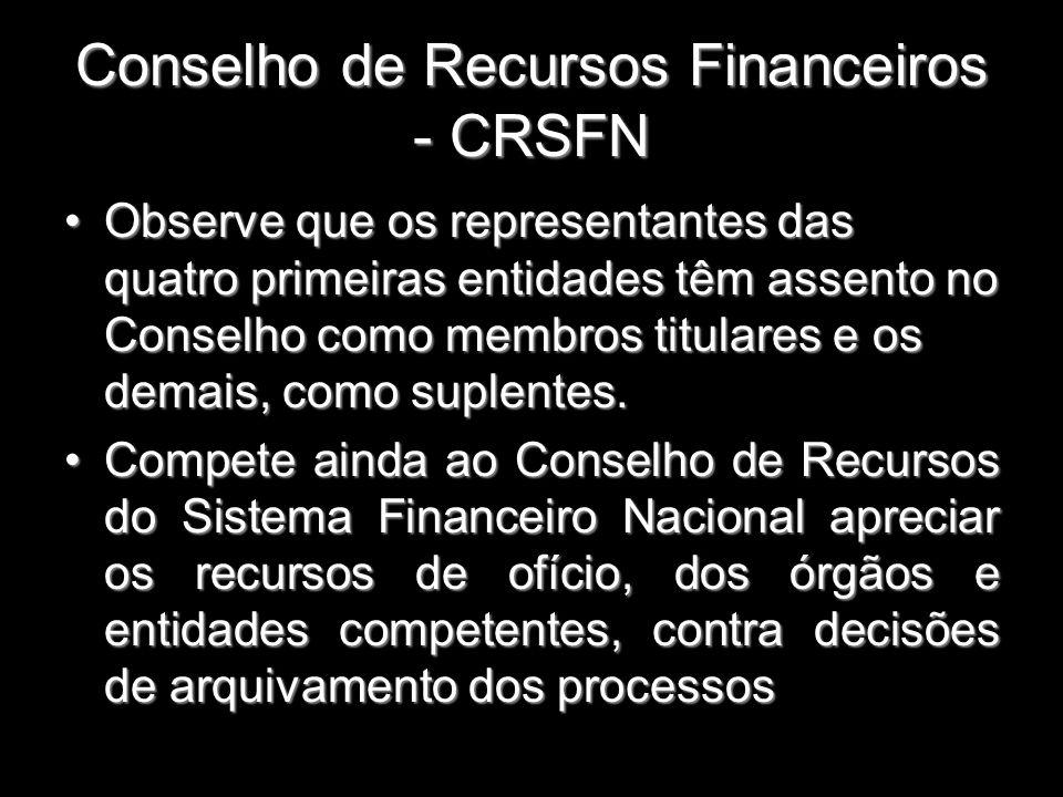 Conselho de Recursos Financeiros - CRSFN Observe que os representantes das quatro primeiras entidades têm assento no Conselho como membros titulares e