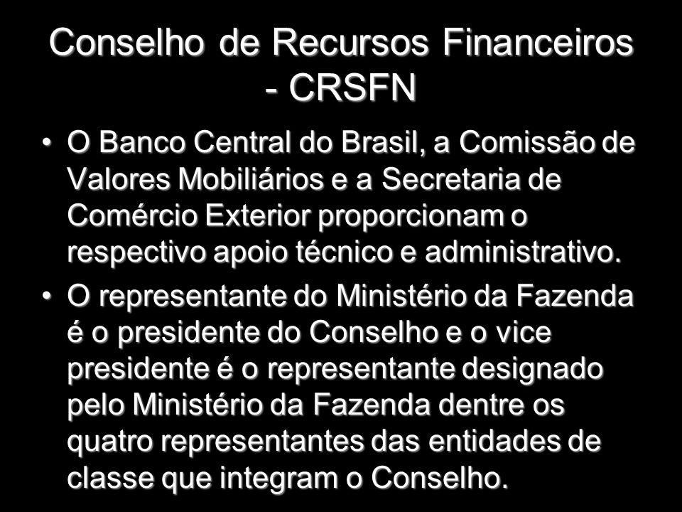 Conselho de Recursos Financeiros - CRSFN O Banco Central do Brasil, a Comissão de Valores Mobiliários e a Secretaria de Comércio Exterior proporcionam