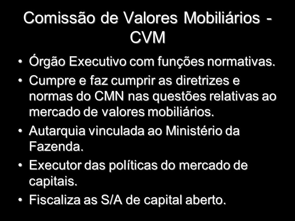 Comissão de Valores Mobiliários - CVM Órgão Executivo com funções normativas.Órgão Executivo com funções normativas. Cumpre e faz cumprir as diretrize