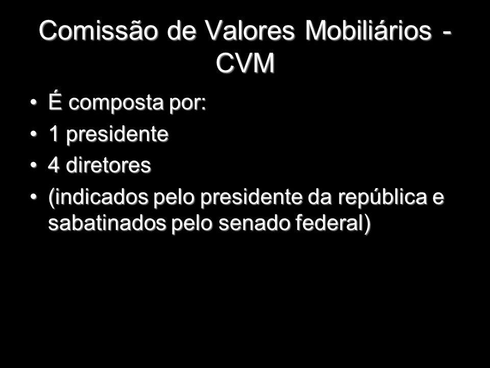 Comissão de Valores Mobiliários - CVM É composta por:É composta por: 1 presidente1 presidente 4 diretores4 diretores (indicados pelo presidente da rep