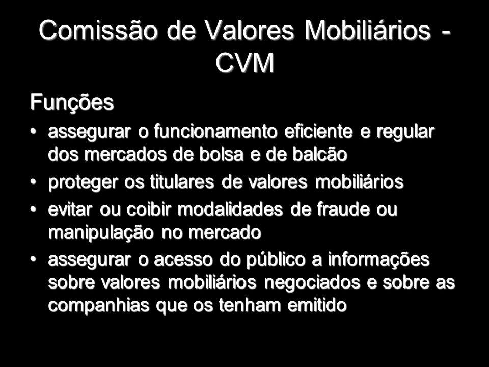 Comissão de Valores Mobiliários - CVM Funções assegurar o funcionamento eficiente e regular dos mercados de bolsa e de balcãoassegurar o funcionamento