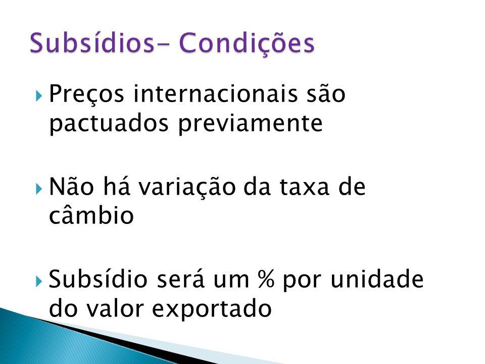  Preços internacionais são pactuados previamente  Não há variação da taxa de câmbio  Subsídio será um % por unidade do valor exportado