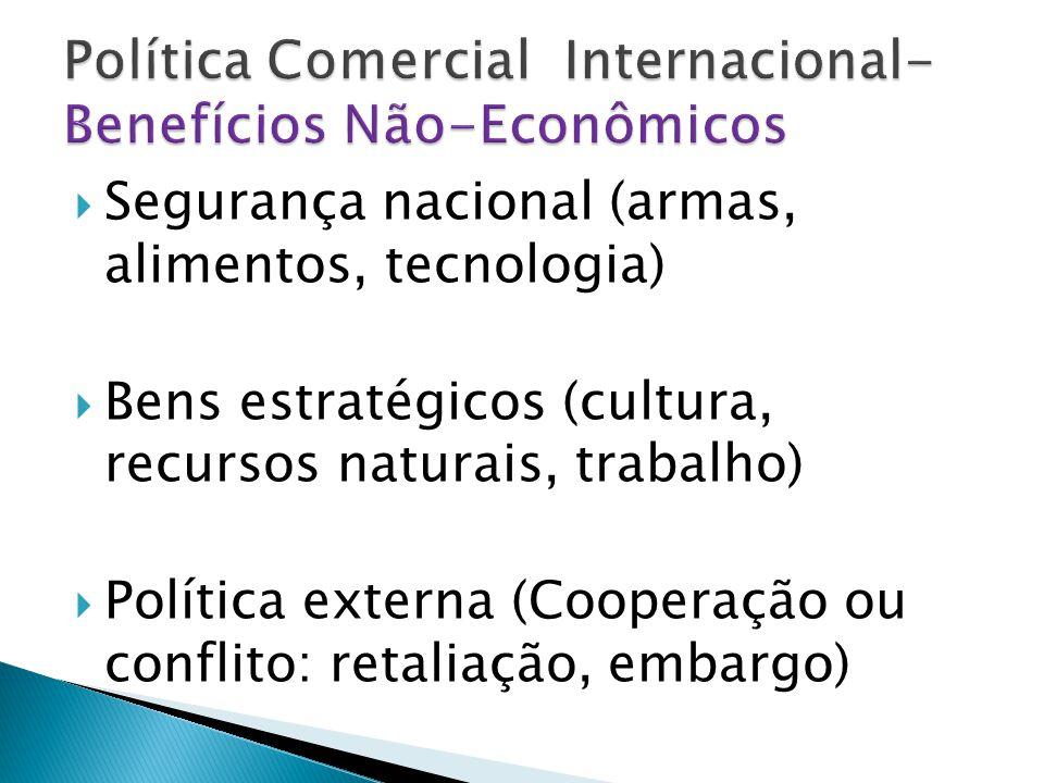  Segurança nacional (armas, alimentos, tecnologia)  Bens estratégicos (cultura, recursos naturais, trabalho)  Política externa (Cooperação ou conflito: retaliação, embargo)