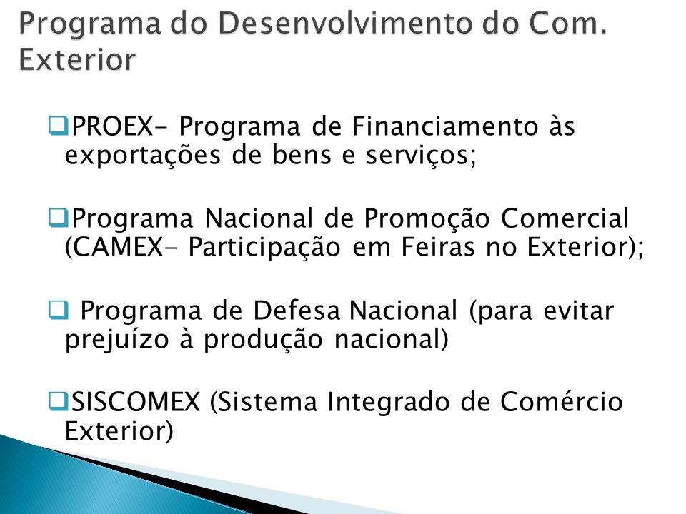  PROEX- Programa de Financiamento às exportações de bens e serviços;  Programa Nacional de Promoção Comercial (CAMEX- Participação em Feiras no Exterior);  Programa de Defesa Nacional (para evitar prejuízo à produção nacional)  SISCOMEX (Sistema Integrado de Comércio Exterior)
