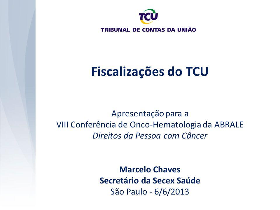 Fiscalizações do TCU Apresentação para a VIII Conferência de Onco-Hematologia da ABRALE Direitos da Pessoa com Câncer Marcelo Chaves Secretário da Sec