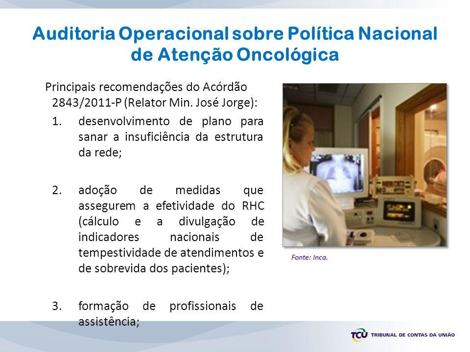 Auditoria Operacional sobre Política Nacional de Atenção Oncológica Principais recomendações do Acórdão 2843/2011-P (Relator Min. José Jorge): 1.desen