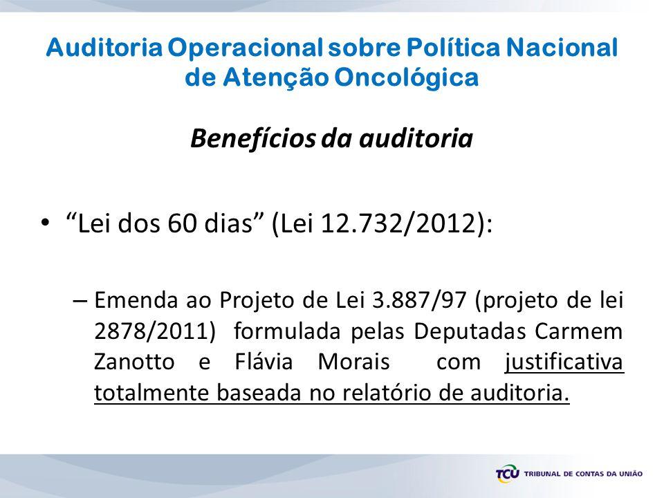 """Auditoria Operacional sobre Política Nacional de Atenção Oncológica Benefícios da auditoria """"Lei dos 60 dias"""" (Lei 12.732/2012): – Emenda ao Projeto d"""