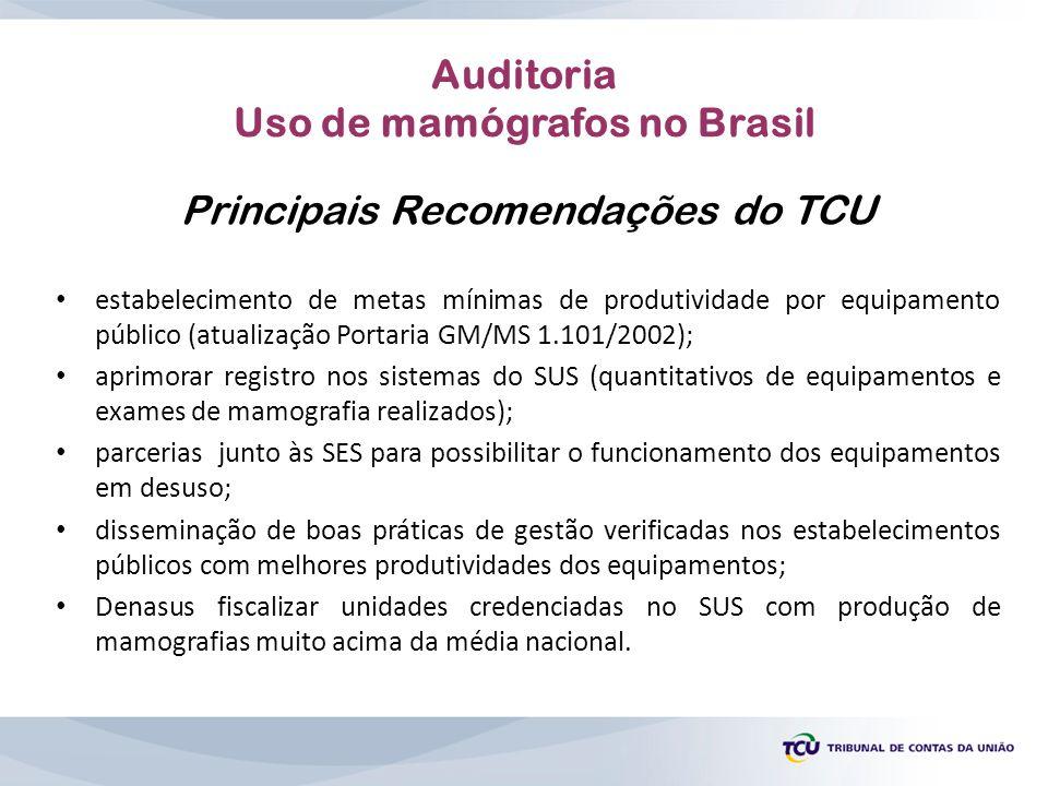 Principais Recomendações do TCU estabelecimento de metas mínimas de produtividade por equipamento público (atualização Portaria GM/MS 1.101/2002); apr