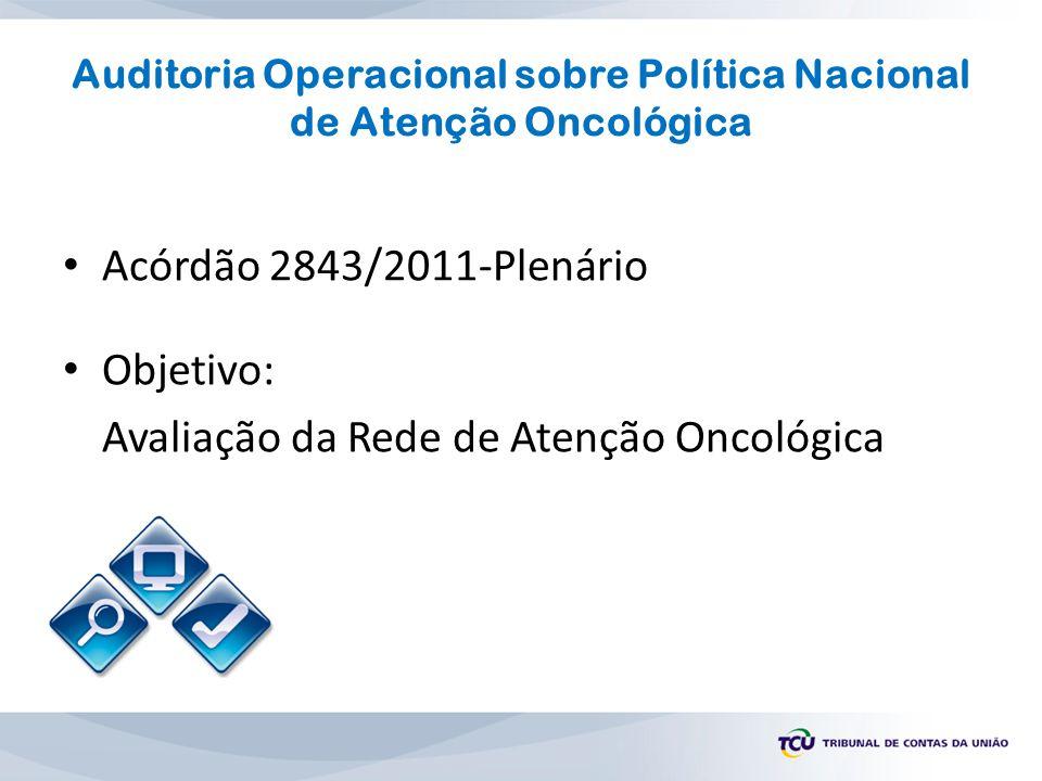 Acórdão 2843/2011-Plenário Objetivo: Avaliação da Rede de Atenção Oncológica Auditoria Operacional sobre Política Nacional de Atenção Oncológica