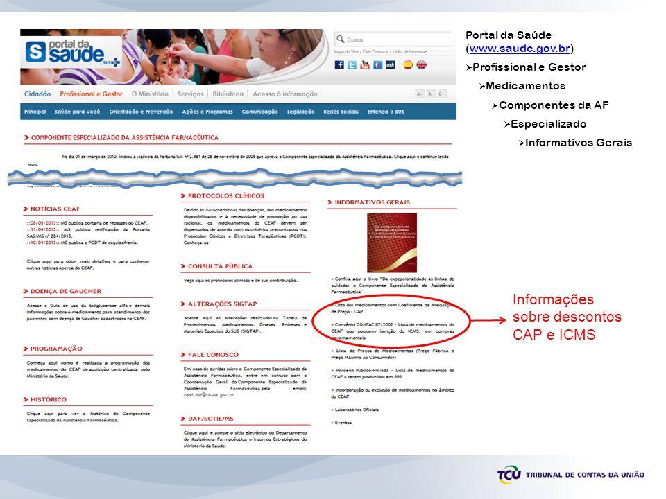 Portal da Saúde (www.saude.gov.br)www.saude.gov.br  Profissional e Gestor  Medicamentos  Componentes da AF  Especializado  Informativos Gerais In
