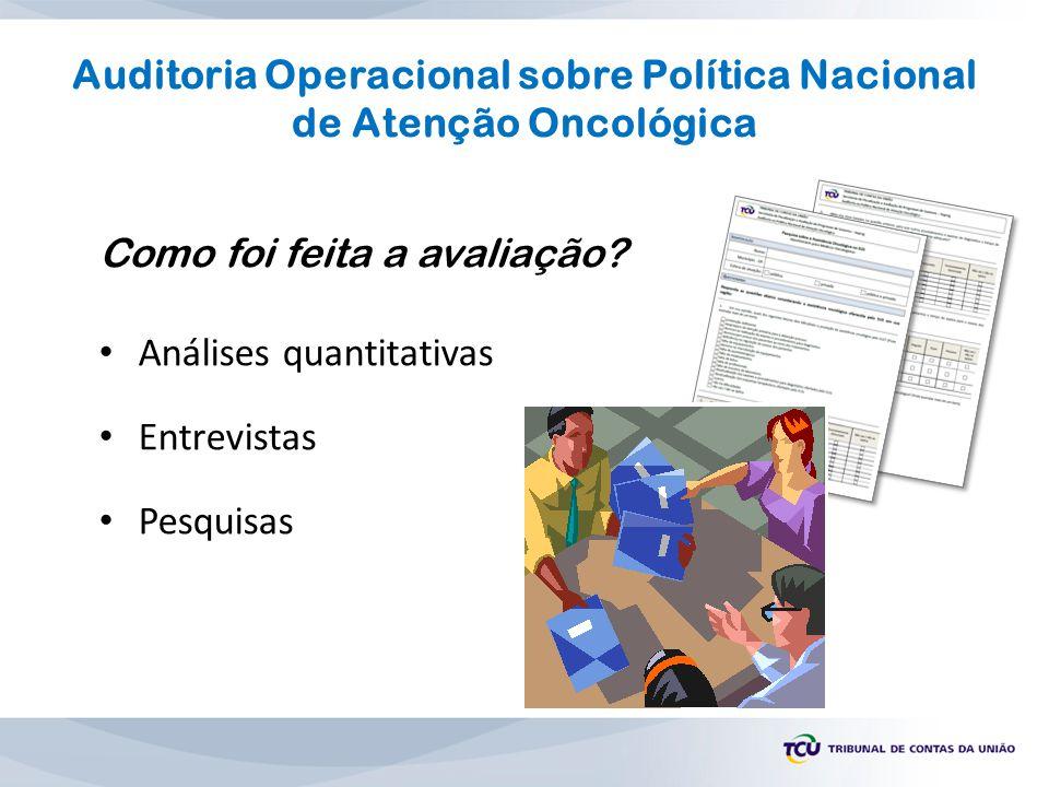 Como foi feita a avaliação? Análises quantitativas Entrevistas Pesquisas Auditoria Operacional sobre Política Nacional de Atenção Oncológica