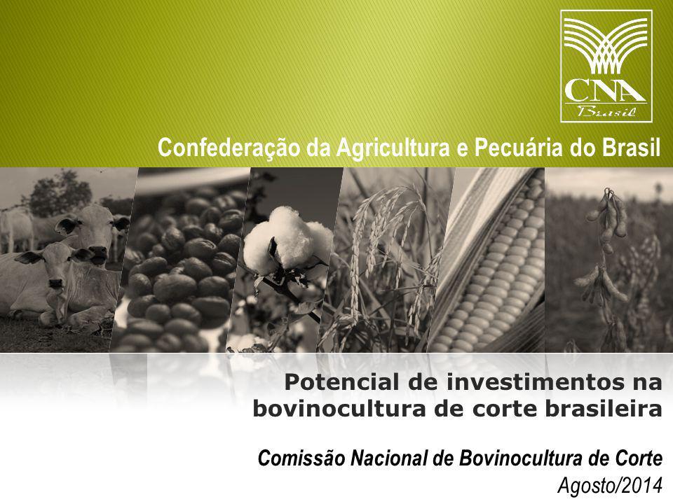 Confederação da Agricultura e Pecuária do Brasil Comissão Nacional de Bovinocultura de Corte Agosto/2014 Potencial de investimentos na bovinocultura de corte brasileira