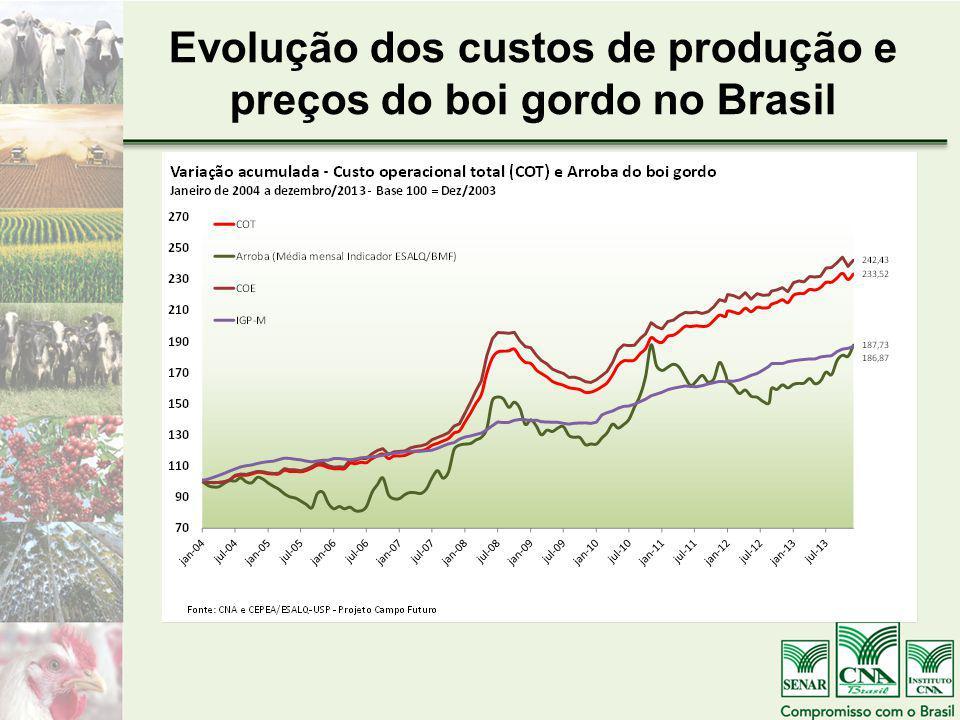 Evolução dos custos de produção e preços do boi gordo no Brasil
