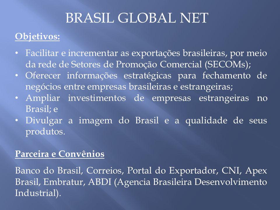 BRASIL GLOBAL NET Objetivos: Facilitar e incrementar as exportações brasileiras, por meio da rede de Setores de Promoção Comercial (SECOMs); Oferecer informações estratégicas para fechamento de negócios entre empresas brasileiras e estrangeiras; Ampliar investimentos de empresas estrangeiras no Brasil; e Divulgar a imagem do Brasil e a qualidade de seus produtos.