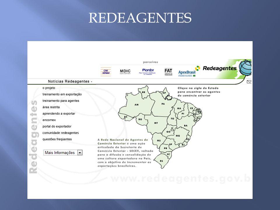 O projeto Rede Nacional de Agentes de Comercio Exterior – REDEAGENTES, consiste em uma iniciativa do MDIC – Ministério do Desenvolvimento Indústria e Comércio Exterior no âmbito do Programa Cultura Exportadora, implementando por intermédio da SECEX – Secretaria de Comércio Exterior em parceria com diversas instituições, como Agência de Promoção das Exportações do Brasil – APEX Brasil, SENAI, Caixa, Correios, e outras.