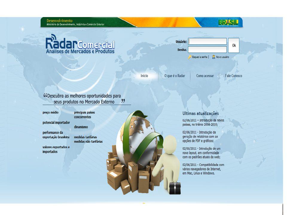 RADAR COMERCIAL Desenvolvido pela Secretaria de Comércio Exterior - SECEX, o Radar Comercial é um instrumento de consulta e análise de dados relativos ao comércio exterior, que tem como principal objetivo auxiliar na seleção de mercados e produtos que apresentam maior potencialidade para o incremento das exportações brasileiras.