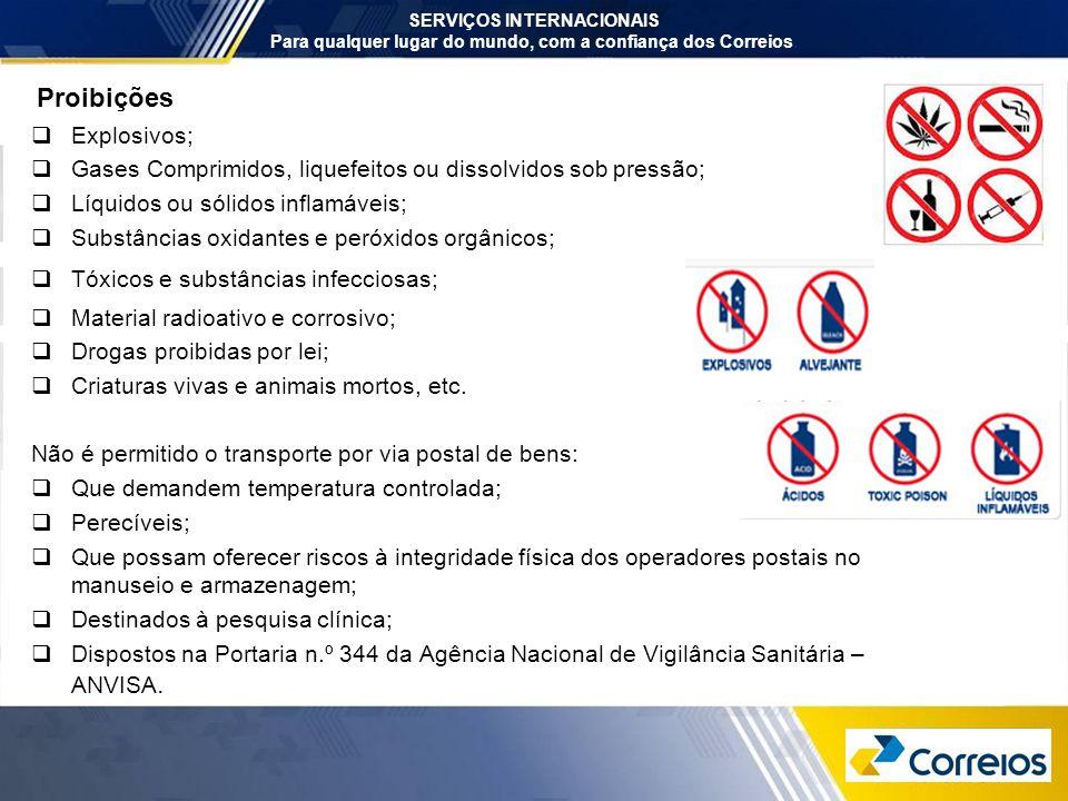 Proibições  Explosivos;  Gases Comprimidos, liquefeitos ou dissolvidos sob pressão;  Líquidos ou sólidos inflamáveis;  Substâncias oxidantes e per