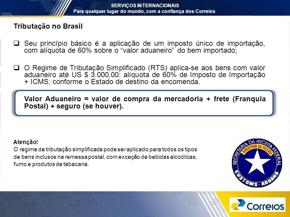 SERVIÇOS INTERNACIONAIS Para qualquer lugar do mundo, com a confiança dos Correios. Tributação no Brasil  Seu princípio básico é a aplicação de um im