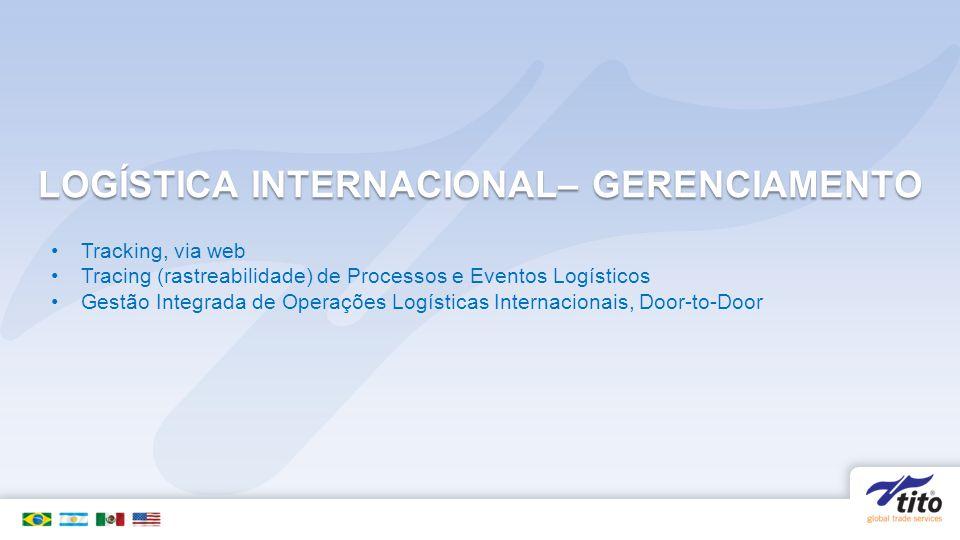 LOGÍSTICA INTERNACIONAL– GERENCIAMENTO Tracking, via web Tracing (rastreabilidade) de Processos e Eventos Logísticos Gestão Integrada de Operações Logísticas Internacionais, Door-to-Door