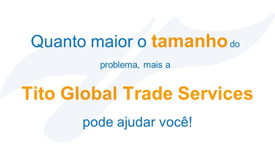Quanto maior o tamanho do problema, mais a Tito Global Trade Services pode ajudar você!