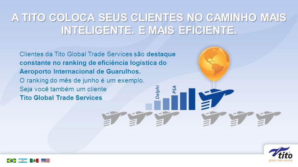 A TITO COLOCA SEUS CLIENTES NO CAMINHO MAIS INTELIGENTE. E MAIS EFICIENTE. Clientes da Tito Global Trade Services são destaque constante no ranking de