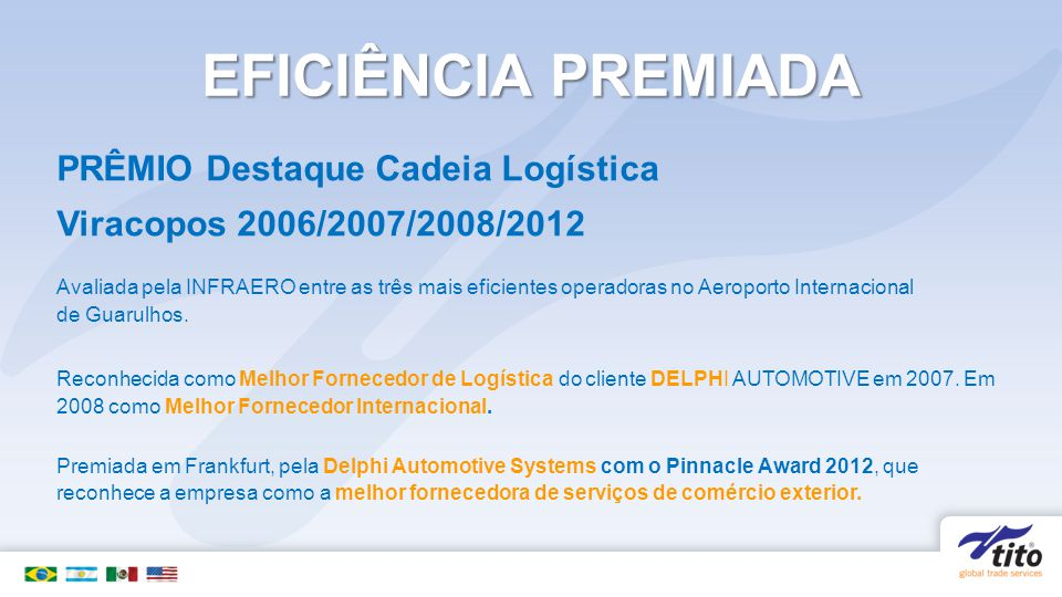 EFICIÊNCIA PREMIADA PRÊMIO Destaque Cadeia Logística Viracopos 2006/2007/2008/2012 Avaliada pela INFRAERO entre as três mais eficientes operadoras no Aeroporto Internacional de Guarulhos.