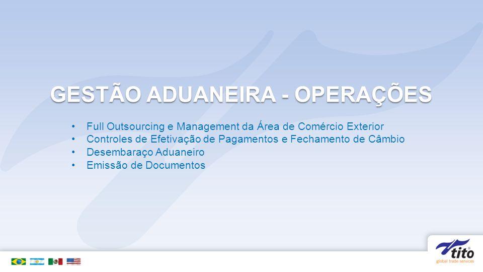GESTÃO ADUANEIRA - OPERAÇÕES Full Outsourcing e Management da Área de Comércio Exterior Controles de Efetivação de Pagamentos e Fechamento de Câmbio Desembaraço Aduaneiro Emissão de Documentos