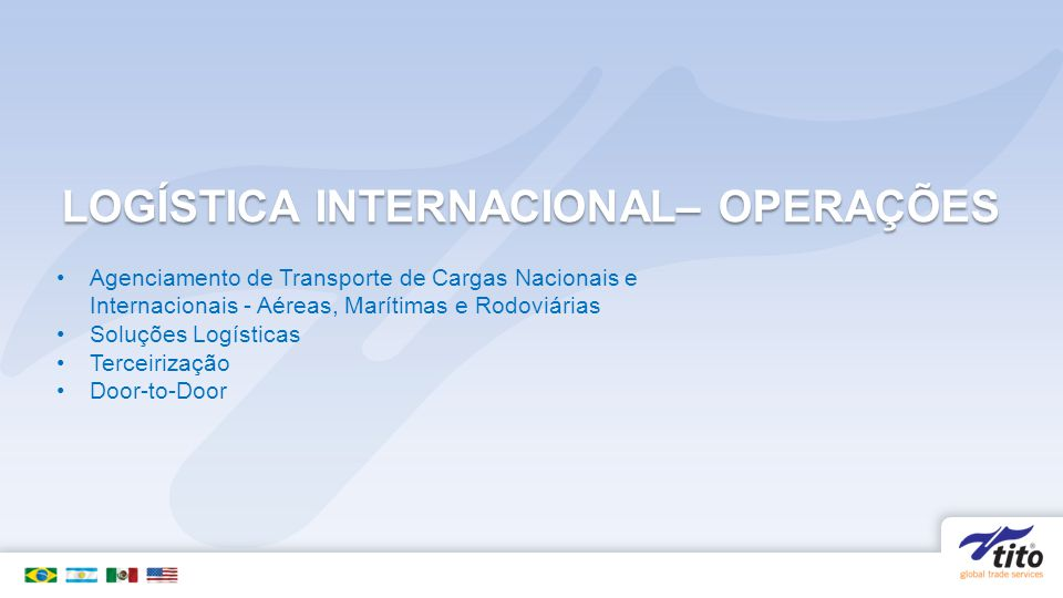LOGÍSTICA INTERNACIONAL– OPERAÇÕES Agenciamento de Transporte de Cargas Nacionais e Internacionais - Aéreas, Marítimas e Rodoviárias Soluções Logístic