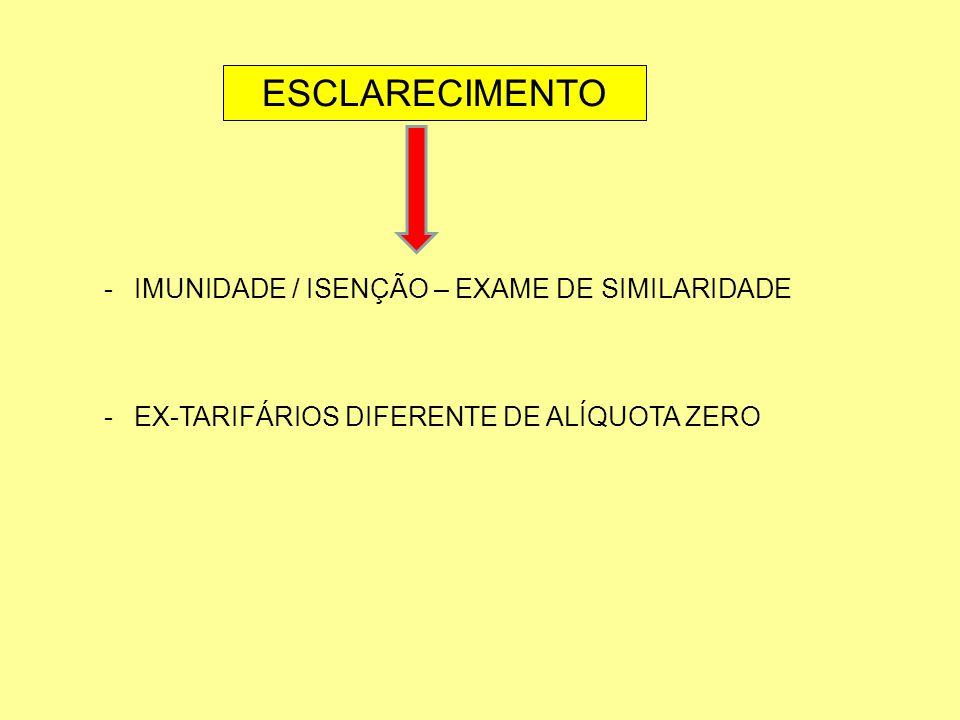 ESCLARECIMENTO -IMUNIDADE / ISENÇÃO – EXAME DE SIMILARIDADE -EX-TARIFÁRIOS DIFERENTE DE ALÍQUOTA ZERO