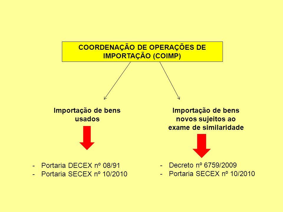 COORDENAÇÃO DE OPERAÇÕES DE IMPORTAÇÃO (COIMP) Importação de bens usados Importação de bens novos sujeitos ao exame de similaridade -Portaria DECEX nº