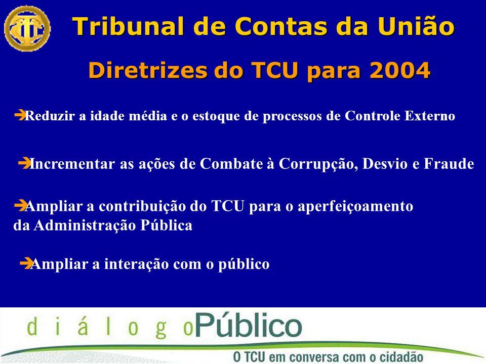 Diretrizes do TCU para 2004 Tribunale Contas da União Tribunal de Contas da União  Reduzir a idade média e o estoque de processos de Controle Externo  Incrementar as ações de Combate à Corrupção, Desvio e Fraude  Ampliar a contribuição do TCU para o aperfeiçoamento da Administração Pública  Ampliar a interação com o público