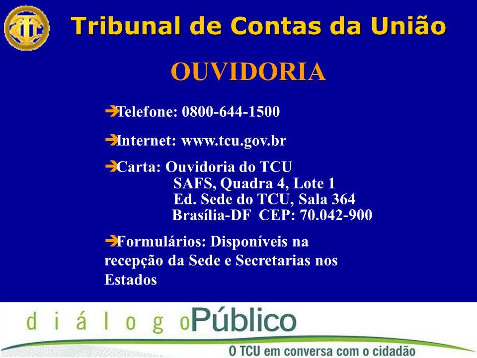 Tribunale Contas da União Tribunal de Contas da União OUVIDORIA  Telefone: 0800-644-1500  Internet: www.tcu.gov.br  Carta: Ouvidoria do TCU SAFS, Quadra 4, Lote 1 Ed.