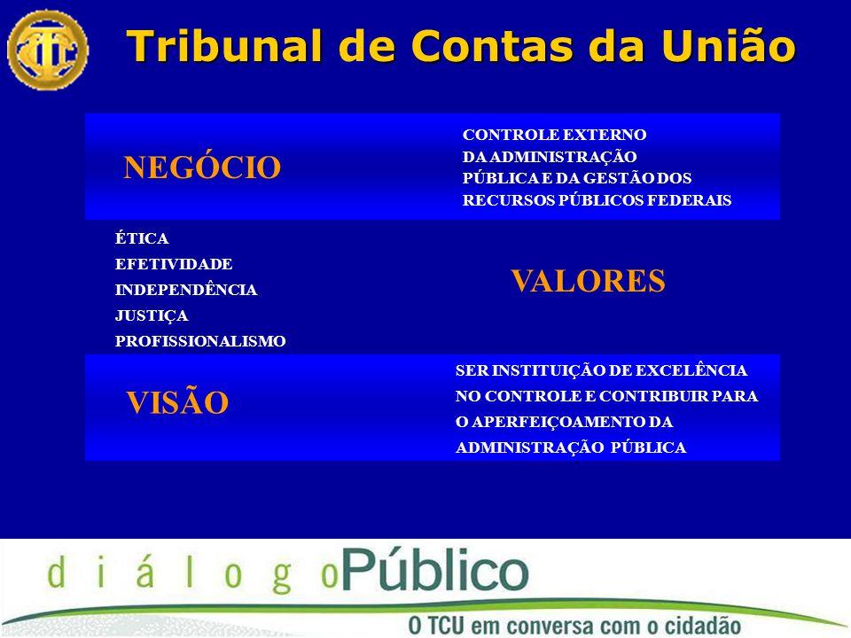 Tribunale Contas da União Tribunal de Contas da União NEGÓCIO CONTROLE EXTERNO DA ADMINISTRAÇÃO PÚBLICA E DA GESTÃO DOS RECURSOS PÚBLICOS FEDERAIS VALORES ÉTICA EFETIVIDADE INDEPENDÊNCIA JUSTIÇA PROFISSIONALISMO VISÃO SER INSTITUIÇÃO DE EXCELÊNCIA NO CONTROLE E CONTRIBUIR PARA O APERFEIÇOAMENTO DA ADMINISTRAÇÃO PÚBLICA
